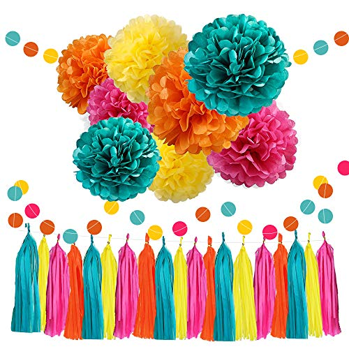 WAYSLA Moana Color Party Supplies,30pcs Tissue Paper Pom Pom Teal Orange Fuchsia Yellow Tassel Garland for Hawaiian Summer Party Birthday Baby Shower Bridal Wedding Moana Theme Decoration -