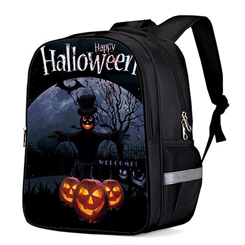 Lightweight Kids School Backpack, Halloween Jack-O-Lantern Scarecrow Durable Elementary School Bookbag Water Repellent Casual Daypacks