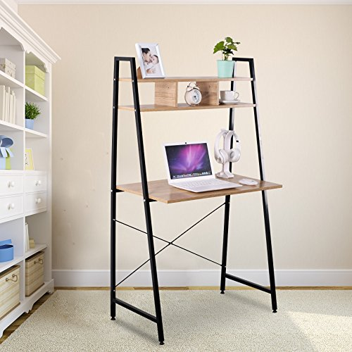 3 Shelf Office Table (WOLTU Computer Desk Sturdy Office Computer Table Personal Use Space Saving Home Desks with 3 Shelves for Books Storage)