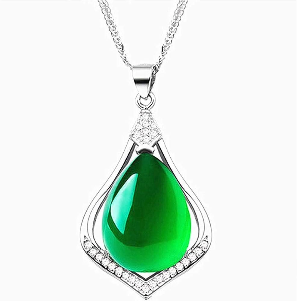 TFTHG Collares Pendientes de Diamantes de Piedras Preciosas de Jade Verde Esmeralda de Moda Vintage para Mujeres Regalos en Oro Blanco Plata 925 con Joyas Bijoux