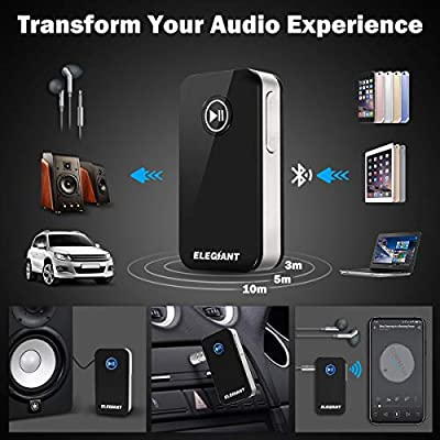 Bluetooth Receiver, ELEGIANT Car Kit Portable Wireless Audio Adapter 3.5mm Aux Stereo Output for Music Streaming Sound System, A2DP, Built-in Mic Hands-Free for Home/Car Audio System: Home Audio & Theater