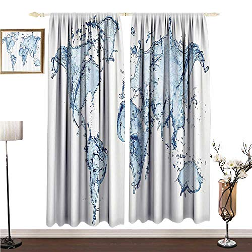 Light Luxury high-end Curtains Wanderlust Decor Collection World Water Map with Splash Design on Clear Background Planet Climate Change Print W120 xL84 Breathability