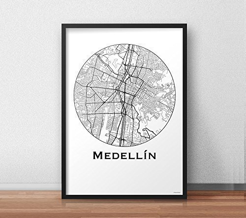 Cartel Medellin Colombia Minimalista Mapa - City Map ...