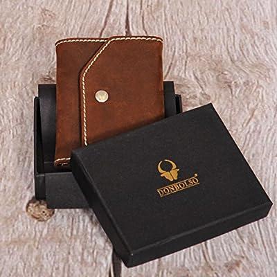 1edb3f63ecd59 Donbolso Mini Geldbeutel Hamburg Herren RFID Geldbörse Kartenetui mit  Münzfach Leder Karten Portemonnaie Männer Klein Slim