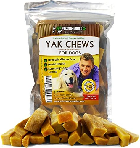 Vet Recommended Yak Chew for Large and Small Dogs – Made from Himalayan Yak Milk 20 Count 5 Count – Long Lasting Cheese Yak Chew Milk Bone – 100 Natural, No Preservatives, Gluten Free Dog Treat