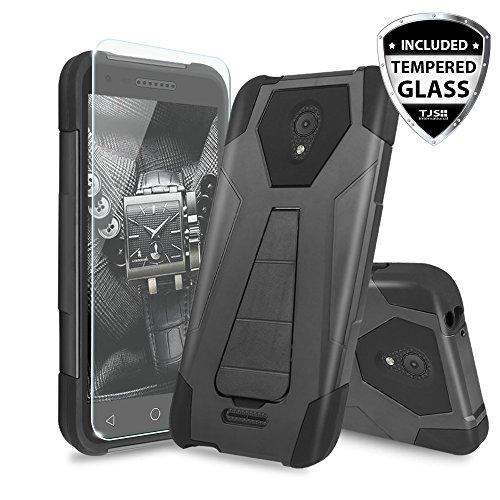 Alcatel Verso Case, Alcatel idealXCITE Case, Alcatel CameoX Case, Alcatel Raven LT Case, TJS [Tempered Glass Screen Protector] Shock Absorbing Phone Cover Kickstand Silicone Inner Layer (Black/Black)
