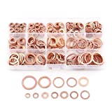 Pack of 280 Pcs Copper Flat Washer Plain Washers Flat Sealing Ring Kit with Box Fitting for Screws Bolts Fasteners(12 Sizes)