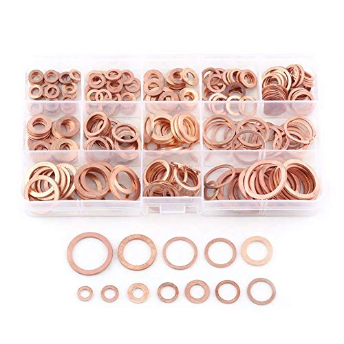 - Pack of 280 Pcs Copper Flat Washer Plain Washers Flat Sealing Ring Kit with Box Fitting for Screws Bolts Fasteners(12 Sizes)