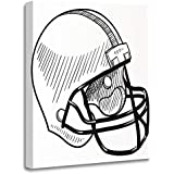 Emvency Painting Canvas Print Artwork Decorative Print Sketch Doodle Style Football Helmet Sports Equipment in Drawing Concussion Face Wooden Frame 16x20 inches Wall Art for Home Decor