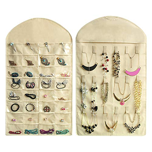 Realdios Hanging Jewelry Organizers 32 Pockets 18 Hook and Loops Non-Woven Dual Sides Wall Hanging Closet Accessory Jewelry Holder Organizer Folding Travel Storage Bag(32pocket-Creamy-White)