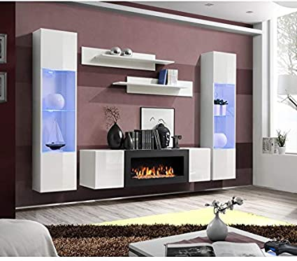 Asm Ensemble Mural Fly M 1 Meuble Tv 2 Vitrines Verticales Led 2 Etageres Murales Blanc Modele 2 Amazon Fr Cuisine Maison