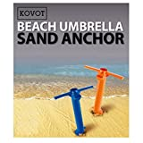 KOVOT Beach Umbrella Sand Anchor 2 Pack - Hold Your Umbrella In Place At the Beach - 2 Unit Included (Assorted Colors Orange or Blue)