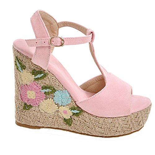 9599c7c4ca46b4 ... AIYOUMEI Damen T-spangen Peep Toe Keilabsatz Sandalen mit Blumen und  Plateau Sommer Schuhe Pink ...