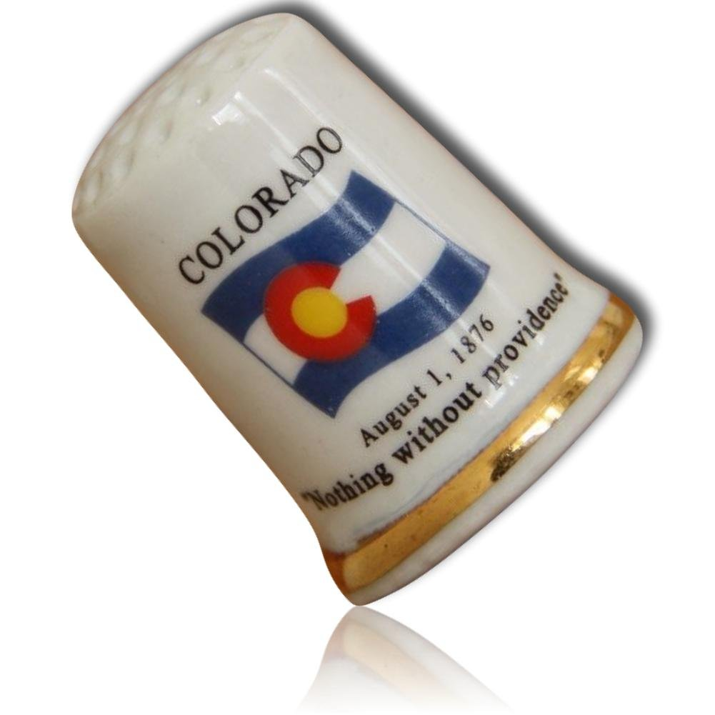 Custom & Collectible {25mm Hgt. x 19mm Dia.} 1 Single, Mid-Size Sewing Thimble Made of Fine-Grade Porcelain Glass w/ Colorado State Flag ''Nothing Without Providence'' Aug 1 1876 {White, Gold & Blue} by mySimple Products