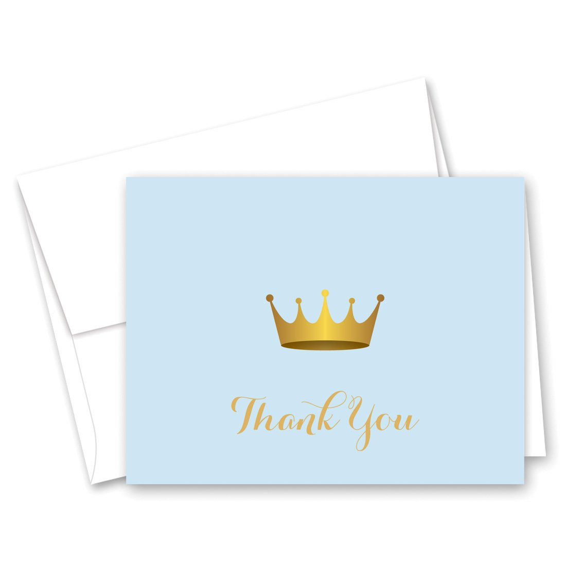 50 cnt Royal Prince Baby Shower Thank You and Envelopes