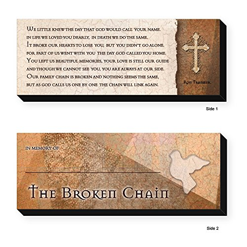 Death Wood Sign - Elanze Designs The Broken Chain Ron Tranmer Bereavement 8 x 3 Wood Double Sided Table Top Sign Plaque
