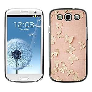 FECELL CITY // Duro Aluminio Pegatina PC Caso decorativo Funda Carcasa de Protección para Samsung Galaxy S3 I9300 // Gold Butterflies Pink Spring Cute Clean