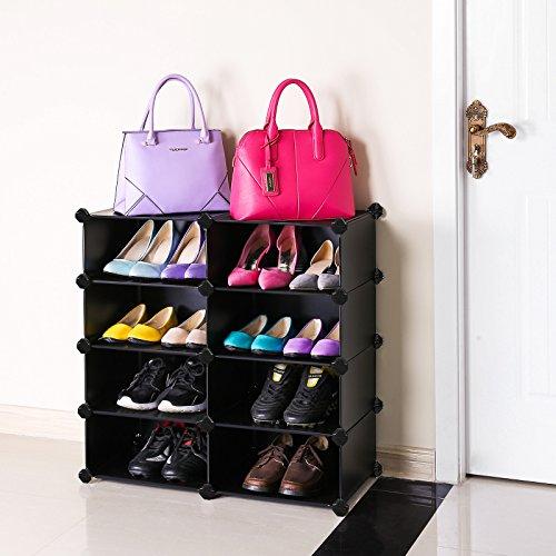 songmics diy shoe organizer 8 cube shoe rack multi functional bookcase shoe storage black. Black Bedroom Furniture Sets. Home Design Ideas