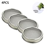 Set of 4 Stainless Steel Sprouting Jar Lid Kit, KOBWA Curved Mesh Jar Sprouting Lid Kit for Wide Mouth Mason Jars Canning Jars for Making Organic Sprout Seeds in House/Kitchen