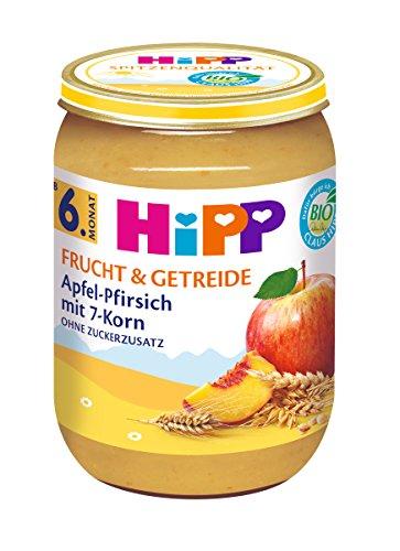 HiPP Apfel-Pfirsich mit 7-Korn, 6er Pack (6 x 190 g) 4814-01 Babynahrung