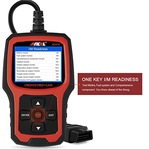 ANCEL AD410 OBD II Vehicle Check Engine Light Scan Tool Automotive Code Reader Auto OBD2 Scanner with I/M Readiness (Black-Red) by ANCEL (Image #4)