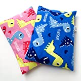 2 BooBoo Saks Microwaveable Heating Pads for Children. Keep in the freezer to soothe their Ouchies! Washable Cover! (Pink & Blue Dinos)