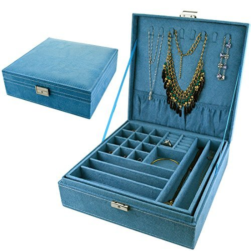 Bantoye Double-Layer Jewelry Box Suede Lint Square Display Storage Case with Lock Blue (Blue Jewelry Box)