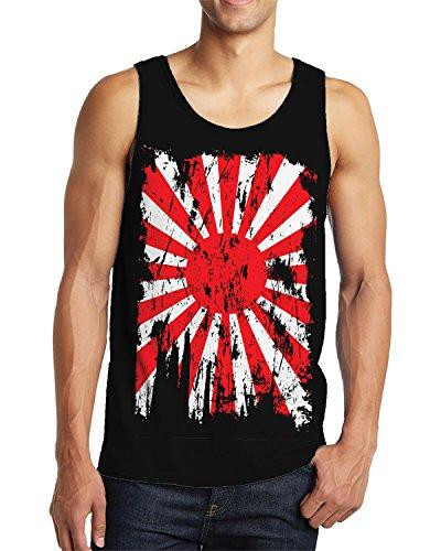 SpiritForged Apparel Distressed Japan Rising Sun Flag Men's Tank Top, Black 3XL
