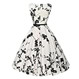 Funic Women's Vintage Musical Note Printing Bodycon Sleeveless Evening Party Prom Swing Dress (L, White #2)