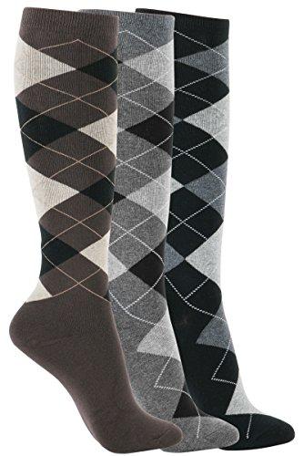 - WOWFOOT Women's Knee High Socks Luxury Cotton For Women Stylish Design Fun (B-Argyle 3pair)