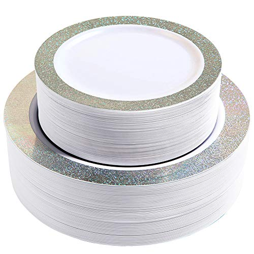 102 Premium Heavyweight Disposable Plastic Plates-Wedding and Party Dinnerware 51PCS 10.25 inch Dinner Plates And 51PCS 7.5 inch Dessert/Salad Plates Silver Rim Pearl - Value Pack 102Count (Silver) -