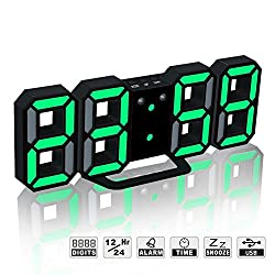 LED Digital Electronic Alarm Clock, Modern Multi-Functional Desk / Shelf Wall Clock with Dimmable Nightlight, Snooze, Auto Memory, 24/12 Hour Display (Black Frame, Green Light)