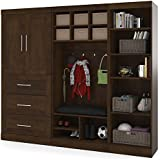 """Bestar Furniture 26855-69 Pur 97"""" Mudroom Kit with Simple Pulls and Three Adjustable Shelves in"""