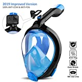 ORSEN Newest Snorkel Mask Foldable 180 Panoramic View Free Breathing Full Face Snorkeling Mask with Detachable Camera Mount, Dry Top Set Anti-Fog Anti-Leak for Adults & Kids (Black Blue, L/XL)