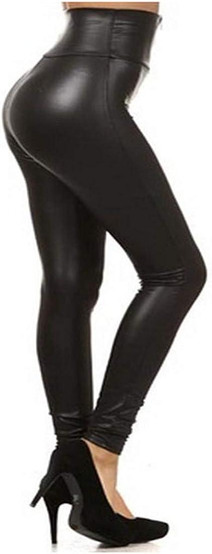 Globaltrade001 Mujer PU Leggins Cuero con Cremallera Pantalones Cintura Alta Medias Skinny Elásticos Treggins de Piel Sintética