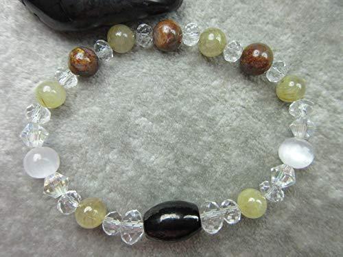 (Genuine Pietersite, Shungite, Selenite and Golden Rutilated Quartz Healing Bracelet Protection)