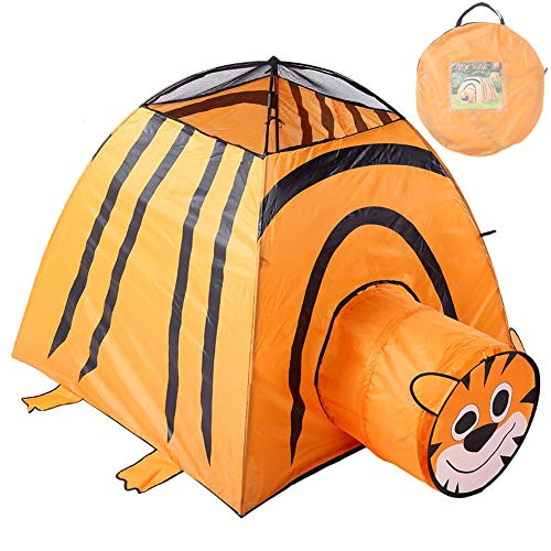 SLONG Children Play Tent Tunnel Tiger Tent for Indoor/Outdoor Use, Foldable with Carry Case Boy and Girl Theater, Beach