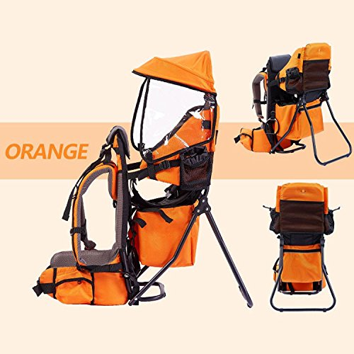 OLizee Foldable Outdoor Baby Kids Toddler Backpack Carrier with Sunshade and Stand (Grey)