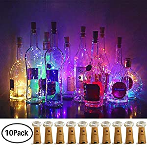 LoveNite Wine Bottle Lights with Cork, 10 Pack Battery Operated LED Cork Shape Silver Wire Colorful Fairy Mini String…