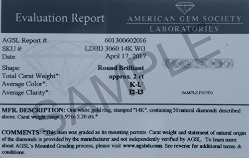 2 Carat TW AGS Certified 14K White Gold Diamond Eternity Band (K-L Color, I2-I3 Clarity) by Szul (Image #3)