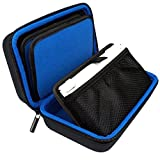 TAKECASE New Nintendo 3DS XL and 2DS XL Carrying Case - Fits Wall Charger - Includes XL Stylus, 16 Game Storage, Accessories Pocket and Hard Shell - Blue/Black