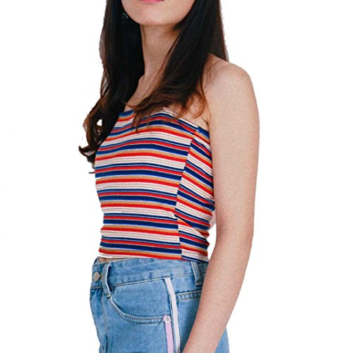 r Casual Off Shoulder Tank Sleeveless Striped Vest Crop Tops (Sleeve Striped Henley Hoodie)