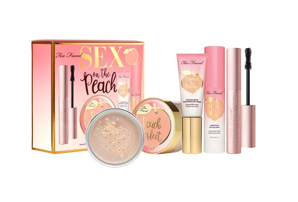 Too Faced Sex On The Peach Complexion Set! Mascara, Setting Powder, Primer and Setting Spray! Intensely Black Volumizing Mascara! Silky Smooth Matte Finish Setting Powder, Primer and Setting Spray!