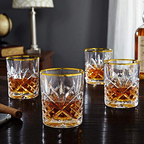 - Le'raze Posh Crystal Whiskey Glasses [Set of 4] Old Fashioned Glasses with Gold Band for Scotch, Bourbon And Cocktail Drinks | DOF Glassware Set