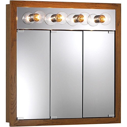 Granville 30 in. W x 30 in. H x 4.75 in. D Surface-Mount Medicine Cabinet in Honey Oak with 4 Bulb Light ()