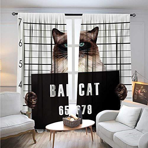 Gang Snap (CatBlackout DrapesBad Gang Cat in Jail Kitty Under Arrest Criminal Prisoner Hangover Artsy WorkSolid Rod Pocket Blackout Drapes W84 x L96 Brown Black White)