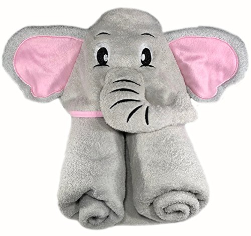 Elephant Hooded Bath Towel | Premium Cotton | For Baby, Infant, Toddler, Kids, Boy, or Girl | Extra Large Pink and Grey | Baby Shower
