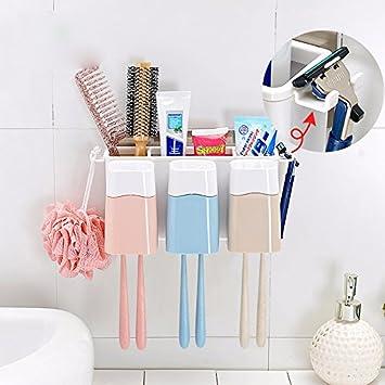 CNBBGJ Porta Cepillo de dientes con fuerte ventosa y baño cepillo colgantes bastidor,B: Amazon.es: Hogar