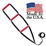 Bed Assist Ladder - Sit-Up Bed Assist Handle - Rope Ladder for Sitting Up In Bed - Pull Up Hoist for Elderly, Senior, Injury Recovery Patients and Pregnant Women - 3 Wide Padded Hand Grips (Red)