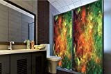 Horrisophie dodo 3D Privacy Window Film No Glue,Space Decorations,North American and Pelican Nebula Gas Cosmic Planetary Object in Outer Space Decor,Orange Green,70.86' H x 23.62' W for Home&Office